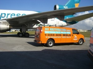 Water Damage Restoration At Commerical Aviation Job Site