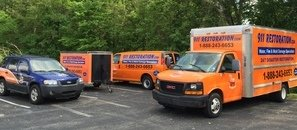 Water Damage and Mold Removal Fleet At Commercial Job Site